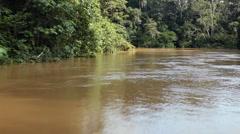 Speeding down an Amazonian river Stock Footage