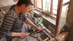 Uyghur woodworker in Kashgar  -  WIDE - 2 - stock footage