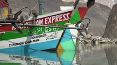 Closeup of private aid ship in Northern Pakistan - stock footage