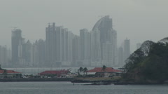 Panama City from the entrance to the Panama Canal Stock Footage