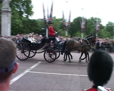 Prince William in carriage outside Buckingham Palace, London England GFSD Stock Footage