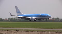 Landing of a KLM boeing 737 - stock footage