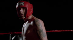 Two boxers train in the ring. Stock Footage