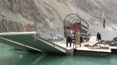 Pakistan government vessel at Attabad lake, news footage Stock Footage