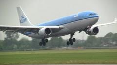 KLM boeing 767 landing - stock footage