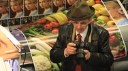 Elderly man with photocamera Stock Footage