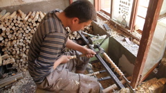 Uyghur woodworker in Kashgar  -  WIDE - stock footage