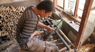 Stock Video Footage of Uyghur woodworker in Kashgar  -  WIDE