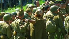Reconstruction of the Second World War. The soldiers of the Soviet army. Stock Footage