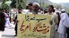 Anti American Protest in Abbottabad, Pakistan Stock Footage