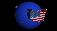 container ships with USA and Japan map flags on blue sphere animation - stock footage