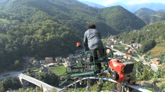 Italy Piedmont going down vineyard 20 Stock Footage