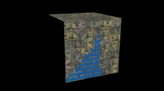 Graph on American Dollar cube animation - stock footage
