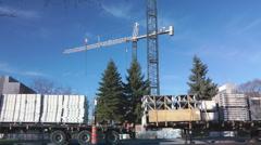 Construction Crane On A Jobsite Stock Footage