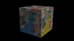 Graph on Chinese Yuan cube animation - stock footage