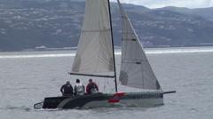 Small yacht racing on Welington harbour Stock Footage