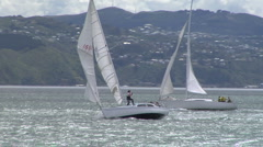 Racing yachts on a harbour Stock Footage