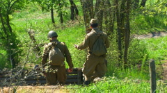 Reconstruction of the Second World War. Soldiers of the Soviet army. Stock Footage