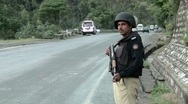 Stock Video Footage of Police Security on Road leading to Abbottabad