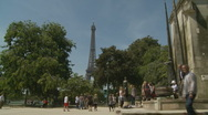 Stock Video Footage of Bikes pass Eiffel Tower, Paris