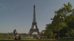 Eiffel Tower & Park - slow small zoom Stock Footage