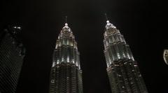 Petronas Towers at night (Malaysian Twin Towers) Stock Footage