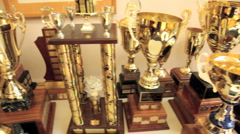 Many trophies - stock footage