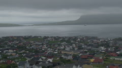 View of Thorshaven, capital of the Faroe Islands - stock footage