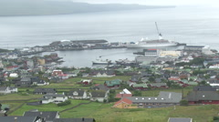 View of Thorshaven, capital of the Faroe Islands Stock Footage