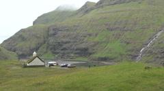 Saksun in the northern Faroes Stock Footage