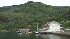 Flam a small cruise destination in Norway Stock Footage