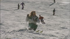 A group of skiiers Stock Footage