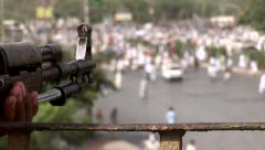 Nervous Police watches Islamist Rally gather in Karachi, Pakistan Stock Footage