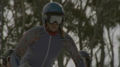 A skier launches herself off of the starting line. Stock Footage