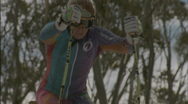 Stock Video Footage of Cross-country skier competes in a race.