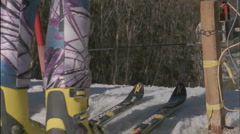 A skier takes off from the starting line. Stock Footage