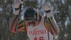 Skier preparing to start the race. Stock Footage
