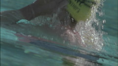 A person stands up after swimming. Stock Footage