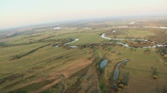 Aerial over river oxbow Stock Footage