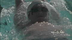 A man does a backstroke in a swimming pool. Stock Footage