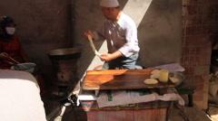 Uyghur Donut stand in Kashgar 3 Stock Footage