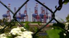 Harbor cranes through a fence - stock footage