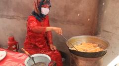 Uyghur Donut stand in Kashgar 4 Stock Footage