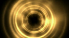 Paradise entrance,swirl golden tunnel hole and metal round and rays light,tech - stock footage
