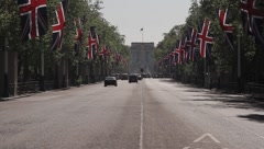 Union Jack flags line The Mall before the Royal Wedding Stock Footage