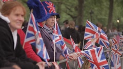 Spectators prepare for Royal Wedding Stock Footage