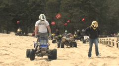 Man on ATV at South Jetty Dunes Stock Footage