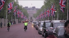 Flags along The Mall in London Stock Footage
