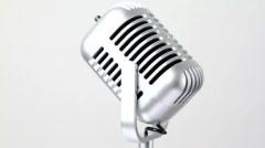 Closeup of metallic microphone rotates Stock Footage