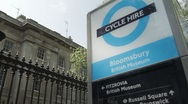 London Cycle Hire sign next to Museum of London Stock Footage